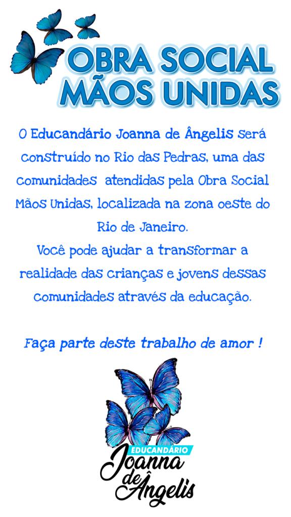 cartaz do educandário convidando você a fazer parte desta obra de amor!